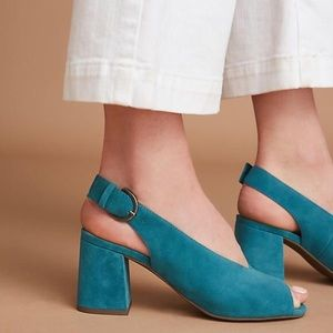 Seychelles Playwright Suede Peep Toe Slingbacks